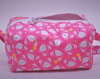 Crab Bag, Crab Travel Bag, Beach Ditty Bag, Cosmetics Pouch, Dopp Kit, Toiletry Bag, Jumbo Pencil Case, Wet Sack, Coastal Gifts