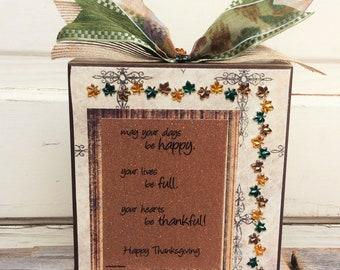 AG Designs Fall Decor - Prim Wood Box Sign Happy Thanksgivng Poem #7-7/04