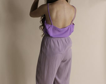 The Lavender Camisole | vintage 90s purple sheer chiffon camisole | | Spaghetti strap tank | see through tank top | lavender sheer cami XL