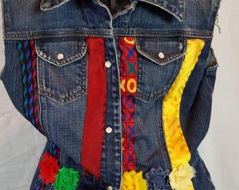 Repurposed denim vest using neckties, size medium