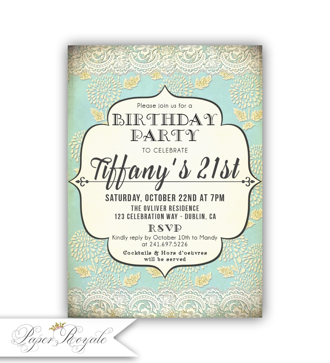 Turquoise and Gold 21st Birthday Invitations for a woman