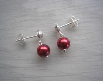 Pearl Studs, Dainty Pearl Earrings, 6mm Pearl Earrings, Pearl Dangle Earrings, Silver Earrings, Gold Earrings, Pearl Drop Earrings, 416S