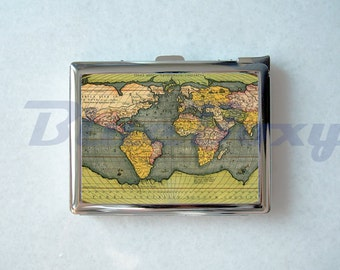 map of the world cigarette case with lighter cigarette box card holder