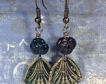 Etched Brass Earrings, Art Deco Earrings with Green Flowers - Free Domestic Shipping