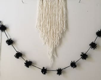 PomPom Garland 005, Reclaimed Black Yarn