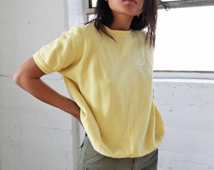 SALE 30% OFF 1960s Pale Yellow Raglan Short Sleeve Sweatshirt
