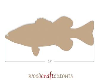 24 inch Unfinished MDF Wood Large Mouth Bass Cutout Shape