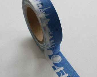 Washi Tape - 15mm - Skyline on Blue - Deco Paper Tape No. 329