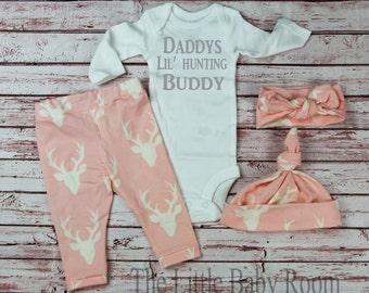 Personalized Onesie,Baby Leggings and Headband,Daddys Hunting Buddy,Girls Deer,Personalized,Girls Coming Home Set,Baby,Onesie,Headband,Hat