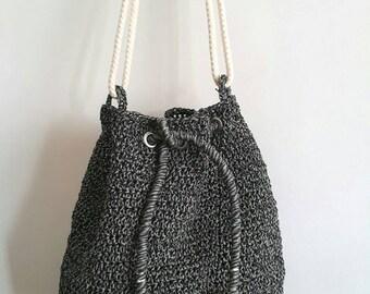 Weekender Bag, Drawstring bag, Bucket Bag, Backpack, Crochet Shoulder bag, Crochet Handbag,  Shopping Bag, Summer Beach Bag With Rope Straps