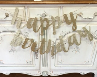 Glitter Gold or Silver calligraphy 'happy birthday' Banner for Party.