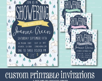 Custom BABY SHOWER Invitation, Rain Drop Baby Shower Invitation, PRINTABLE, Baby Shower, Invitation, Clouds, Digital File, Rain, Baby,Shower