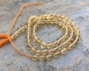 Round Citrine Beads, Grade AAA, Citrine beads, 4mm, 13.5 inch strand