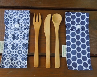 Reusable bamboo cutlery and carrying pouch  - Picnic cutlery case - Flatware pouch - Bamboo cutlery - Mosaic tiles and blue polka dots
