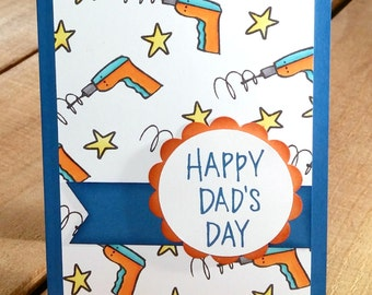 Handmade Father's Day Card, Greeting Card Dad, Tool Card, Mr. Fix It Card, Fun Father's Day Card, Handstamped Father's Day Card, Funny Dad