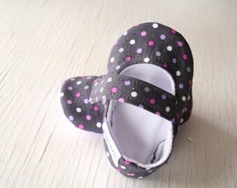 maryjane baby girl shoes newborn velcro strap booties soft sole Grey purple pink polkadots lavender headband slippers SWAG gift non slip