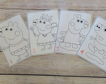 British Pig,  Reusable, Re-usable, Vinyl, Colouring, Sheets, Washable, Pages, Green, Children, Playtime, Party Favours, Quiet Time