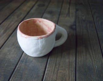 White pink ceramic mug handmade Gift for women Gift for her Coffee mug Pottery mug Christmas gift ceramic gift for Coffee lovers gift