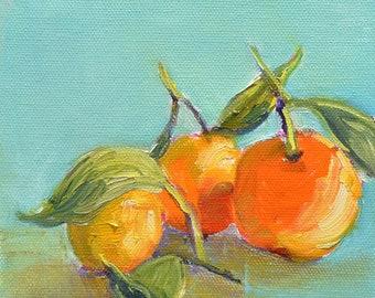 "Original still life painting, Fruit painting, Kitchen art, oranges, tangerines, mandarines, Gift for mom, 6"" X 6"""