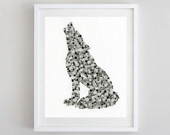 Wolf Black Watercolor Art Print