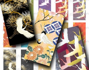 Cranes (1) Digital Collage Sheet - Colorful & beautiful Japanese Cranes - Dominos 1x2 inch or bamboo size - Buy 3 Get 1 Extra Free