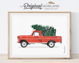 Christmas Truck Print, Ford Truck and Christmas Tree Wall Art, Christmas Printable Card, Christmas Decor, Vintage Red Christmas Truck