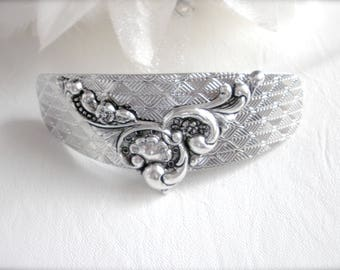 Art Nouveau Style Barrette, Silver Filigree Hair Clip, Art Nouveau Style Hair Clip, Ponytail Holder, Wedding, Bridal Hair Clip, Gift for Her