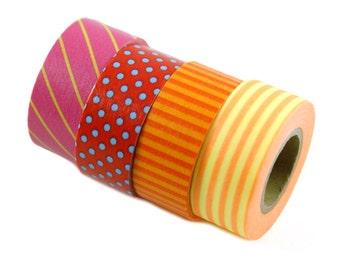MASTE rainbow washi masking tape set - set of 4 pink, red, orange, yellow stripes & polka dots- Japanese washi tape
