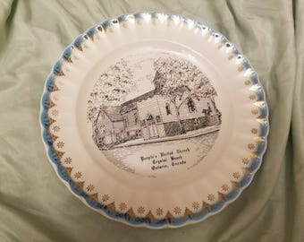 """World wide Art studios Peoples United Church crystal beach ontario canada collectors plate 9"""" Nice blue and silver trim"""