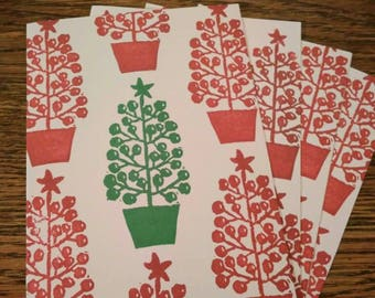 christmas cards(5cards) kerstkaarten, linosnede, linocut