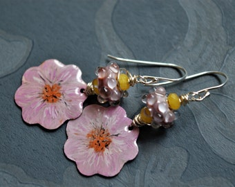 Soft pink enamelled flowers earrings,pink floral earrings,pink and silver,artisan glass and enamelled copper,sterling silver earwires