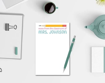 Personalized Teacher Notepad - News From the Classroom Notepad - Personalized Stationery - 50 Colors - Teacher Gifts - Teacher Notepad
