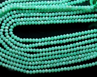13'' Full Strand, Super Finest, Hard to Find Quality,  AAA Natural Chrysoprase Faceted Rondelles, Size 4.10mm
