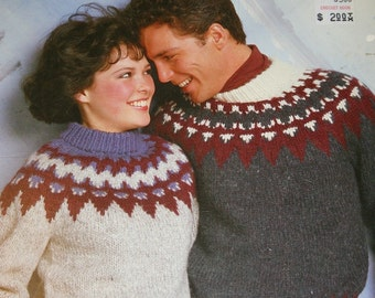 Knitting Pattern Sweater Elena White Buffalo A 2007 Men Women Nordic Icelandic Bulky Weight Yarn Vintage Paper Original not PDF