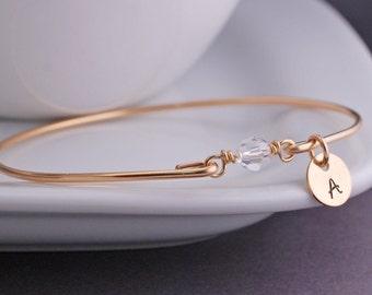 Gold Clear Crystal Diamond Bracelet, Gold April Birthstone Bangle Bracelet, Personalized April Birthday Gift, Bridesmaid Jewelry