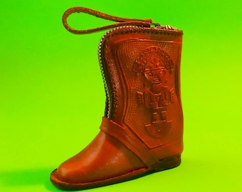 Cowboy Boot Leather Coin Purse Zippered Pouch Peru Machu Picchu Vintage Souvenir Retro Kitsch Tourist Chic