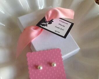 Flower Girl Pearl earrings 6mm Swarovski perfect flower girl gift