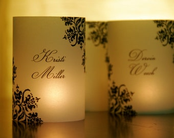 NEW Mini Lumies - Wedding Name Place Card Luminaries - Damask Design