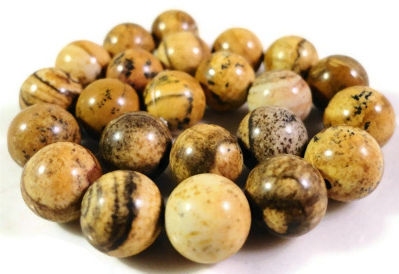 Picture Jasper Gemstone Beads 8mm Round Smooth Natural Brown Stone Beads for Jewelry Making on a 7 3/4 Inch Strand with 23 Beads
