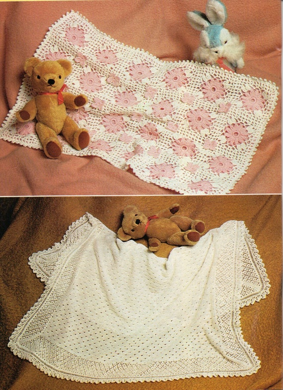 Knit and Crochet Baby Shawl Patterns, PDF, Instant Download, Vintage ...