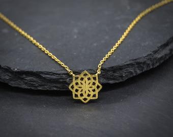 Namana Mandala Flower Pendant Necklace. Brushed Finish 14 Carat Gold Plated Sacred Geometry Necklace.