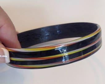 Funky resin colorful bangle bracelet 1970s