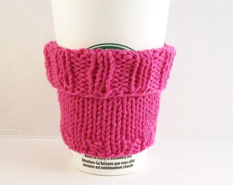 2 in 1 Coffee Cup Cozy Sleeve - Hand Knit - Hot Pink Cotton Knit Fabric - Cuff Up for Grande sized or down for a Short Coffee Gift