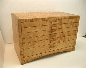 Curly Maple Jewelry Box *** Extra Large***Arched Apron Chest