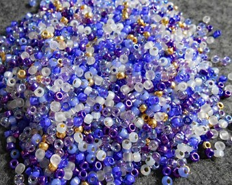 8/0 Miyuki and Toho Seed Bead Mix, 25 grams, Purples/White/Gold (0108)