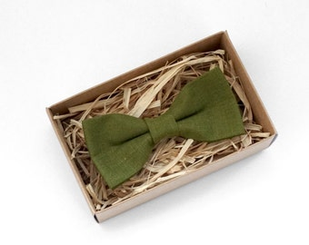 Green linen Bowtie, Green mens bow tie, Olive green bow tie, Green wedding bowtie, Green Necktie, Green mens tie, grooms green bowtie