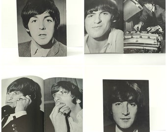 1965 Beatles Memorabilia USA Fan Club Limited Edition Photo Albums, Set of 4, Rare Black & White Poster Booklets, John, Paul, George, Ringo