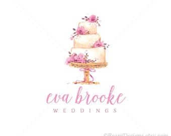 Watercolor Bakery Logo Design and Branding -Photoshop PSD Business Branding Hand Drawn Logo Watermark Wedding Cake Patisserie