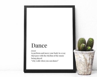 Prints, Dance Prints, Definition Prints, Dance Definition, Dance Gift, Dance Decor, Girls Bedroom Decor, Gift for Girls, Sport Prints