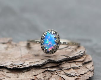 Size 7, Blue Opal Ring, Sterling Silver, Blue Opal, Blue Ring, Opal Ring, Delicate Ring, Dainty, 925, Blue Stone, Ring 7